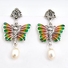 5.80cts natural white pearl marcasite enamel 925 silver butterfly earrings c5778