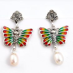 925 silver 6.39cts natural white pearl marcasite enamel butterfly earrings c5779