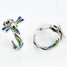 6.69gms multi color enamel 925 sterling silver stud earrings jewelry c5780