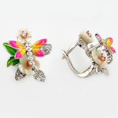925 silver 1.92cts natural white pearl topaz enamel dragonfly earrings c6100