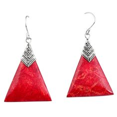 7.56cts natural red sponge coral 925 sterling silver dangle earrings c6236