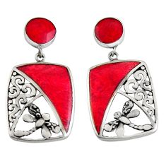 7.89cts natural red sponge coral 925 sterling silver dragonfly earrings c6284