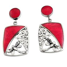 7.85cts natural red sponge coral 925 sterling silver dragonfly earrings c6286