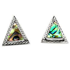 5.45cts natural green abalone paua seashell 925 silver stud earrings c6298