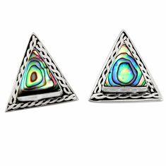 925 silver 5.17cts natural green abalone paua seashell stud earrings c6299