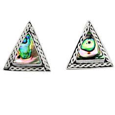 5.42cts natural green abalone paua seashell 925 silver stud earrings c6300