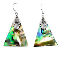 925 silver 9.27cts natural green abalone paua seashell dangle earrings c6314