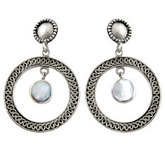 5.35cts natural white pearl 925 sterling silver dangle earrings jewelry c6321