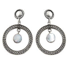 6.30cts natural white pearl 925 sterling silver dangle earrings jewelry c6322