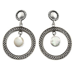 5.62cts natural white pearl 925 sterling silver dangle earrings jewelry c6325