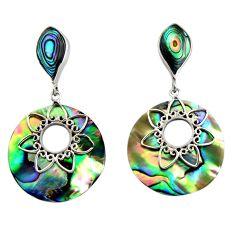 16.49cts natural green abalone paua seashell 925 silver dangle earrings c6327