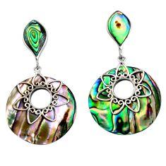 925 silver 16.49cts natural green abalone paua seashell dangle earrings c6328