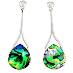 925 silver 10.02cts natural green abalone paua seashell dangle earrings c6336
