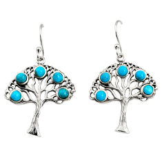 4.30cts southwestern arizona mohave turquoise silver tree of life earrings c7262