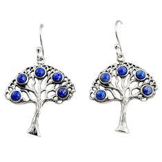4.07cts southwestern natural blue lapis lazuli 925 silver dangle earrings c7266