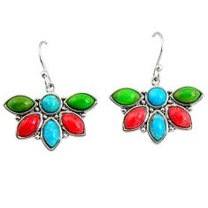 7.13cts southwestern multi color copper turquoise 925 silver earrings c7273