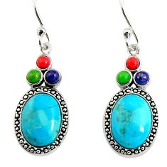 6.72cts southwestern multi color copper turquoise 925 silver earrings c7285