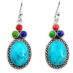 7.04cts southwestern multi color copper turquoise 925 silver earrings c7286