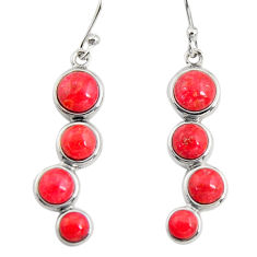 6.31cts southwestern red copper turquoise 925 silver dangle earrings c7291