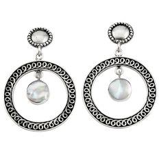 7.02gms natural white pearl enamel 925 sterling silver dangle earrings c7461
