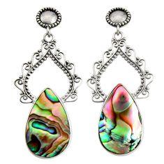 925 silver 18.63cts natural green abalone paua seashell dangle earrings c7468