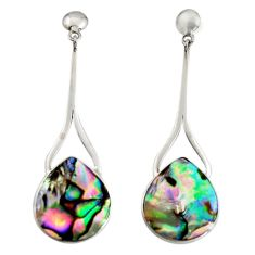 925 silver 11.57cts natural green abalone paua seashell dangle earrings c7475