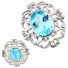 13.27cts natural blue topaz 925 sterling silver pendant jewelry c5466