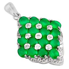 8.76cts natural green chalcedony topaz 925 sterling silver pendant jewelry c5469