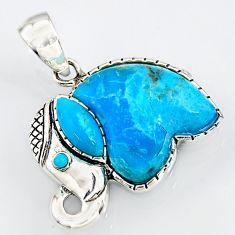 925 silver 5.84cts southwestern blue copper turquoise elephant pendant c5630