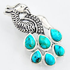 6.57cts southwestern blue copper turquoise 925 silver peacock pendant c5634