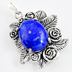 8.27cts southwestern natural blue lapis lazuli 925 silver flower pendant c5647