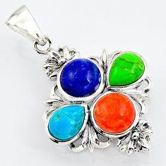 7.50cts southwestern multi color copper turquoise 925 silver pendant c5650