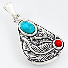 1.06cts southwestern blue copper turquoise coral 925 silver pendant c5654