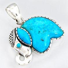 925 silver 5.84cts southwestern blue copper turquoise elephant pendant c5656