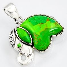 6.09cts southwestern green copper turquoise 925 silver elephant pendant c5658