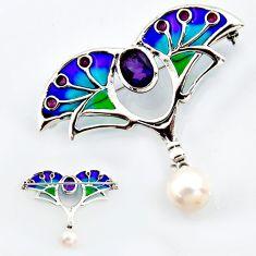 Art nouveau natural white pearl amethyst enamel 925 silver brooch pendant c5863