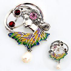 925 silver art nouveau natural white pearl garnet enamel brooch pendant c5867