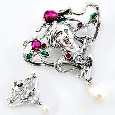 Art nouveau natural white pearl ruby enamel 925 silver brooch pendant c5901