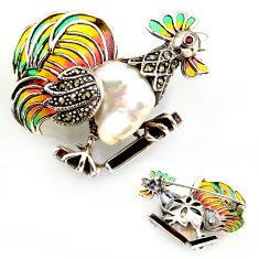 Art nouveau natural white pearl marcasite enamel 925 silver brooch pendant c5917