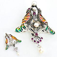 Art nouveau natural white pearl marcasite enamel 925 silver brooch pendant c5938