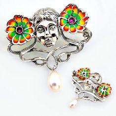 Art nouveau natural white pearl ruby enamel 925 silver brooch pendant c5960