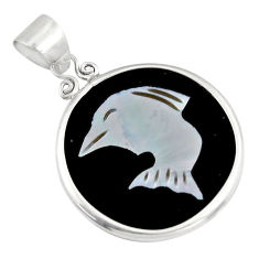 9.74cts natural pink cameo on shell 925 sterling silver dolphin pendant c6201