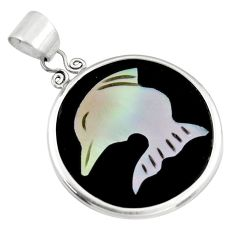 9.74cts natural pink cameo on shell 925 sterling silver dolphin pendant c6202