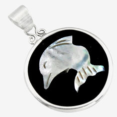 925 sterling silver 10.33cts natural pink cameo on shell dolphin pendant c6204