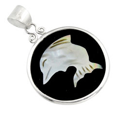 9.13cts natural pink cameo on shell 925 sterling silver dolphin pendant c6205