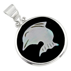 9.13cts natural pink cameo on shell 925 sterling silver dolphin pendant c6207