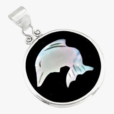 925 sterling silver 9.13cts natural pink cameo on shell dolphin pendant c6208