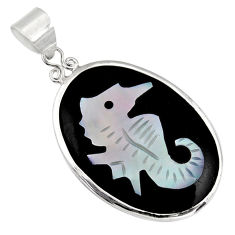 10.84cts natural pink cameo on shell 925 sterling silver seahorse pendant c6211