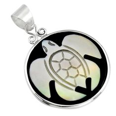 925 sterling silver 10.89cts natural pink cameo on shell turtle pendant c6216