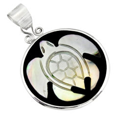 11.28cts natural pink cameo on shell 925 sterling silver turtle pendant c6217
